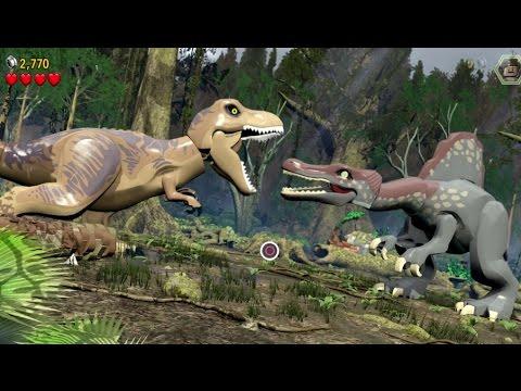 LEGO Jurassic World - 100% Level Guide #17 - The Spinosaurus (All 10 Minikits/Amber Brick)