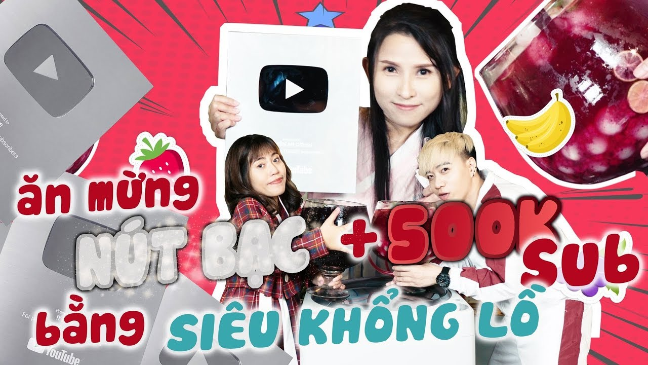 LÀM LY NƯỚC KHỔNG LỒ ĂN MỪNG NÚT BẠC & 500K SUBSCRIBE - Thiên An , Đường Bảo, Muối