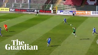Glentoran score 40-yard header past Roy Carroll: 'He hasn't scored that?'