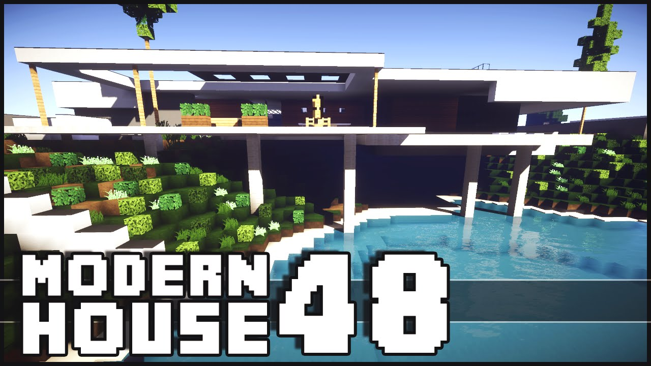 Minecraft modern house 48 youtube for Modern house 48