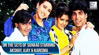 Akshay Kumar, Ajay Devgn & Karisma Kapoor Having Fun On The Sets Of Suhaag | Flashback Video