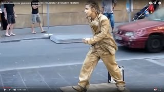 живой памятник  удивляет людей HD LIVING STATUE SCARES PRANKS