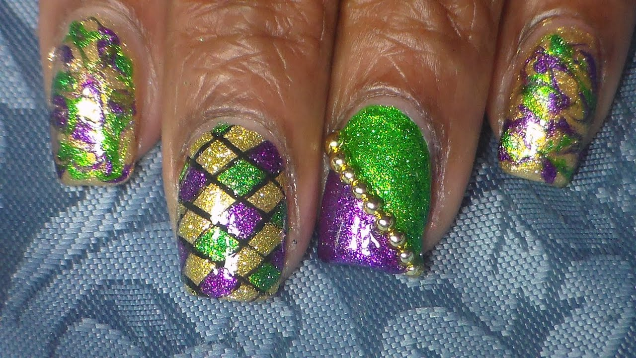 Easy Mardi Gras Nail Art - YouTube