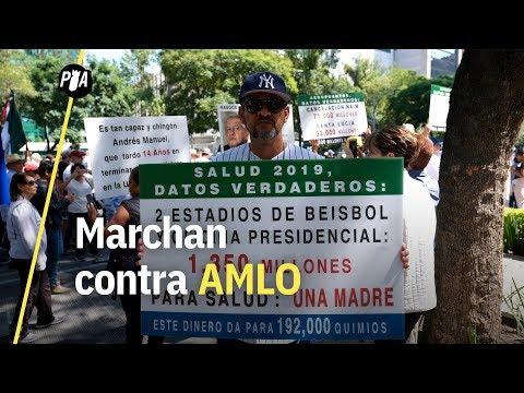 Marcha contra AMLO mientras presenta Primer Informe de Gobierno