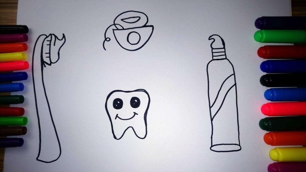 Diş Diş Macunu Diş Fırçası Ve Diş Ipi Nasıl çizilir çocuklar