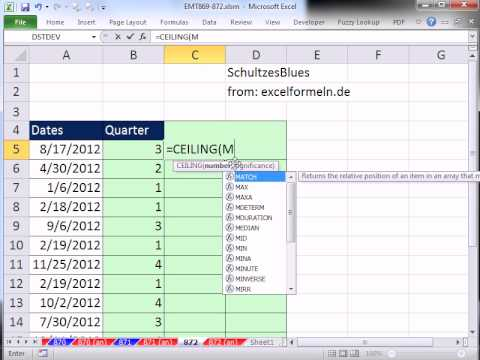 Excel Magic Trick 872 Calculate Quarters From Date3 Methods - YouTube