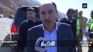 وزير الأشغال يتفقد أعمال تنفيذ الحماية لجسور البحر الميت