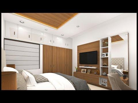 10×12 bedroom design and TV unit/panel design in India ! Modular bedroom design