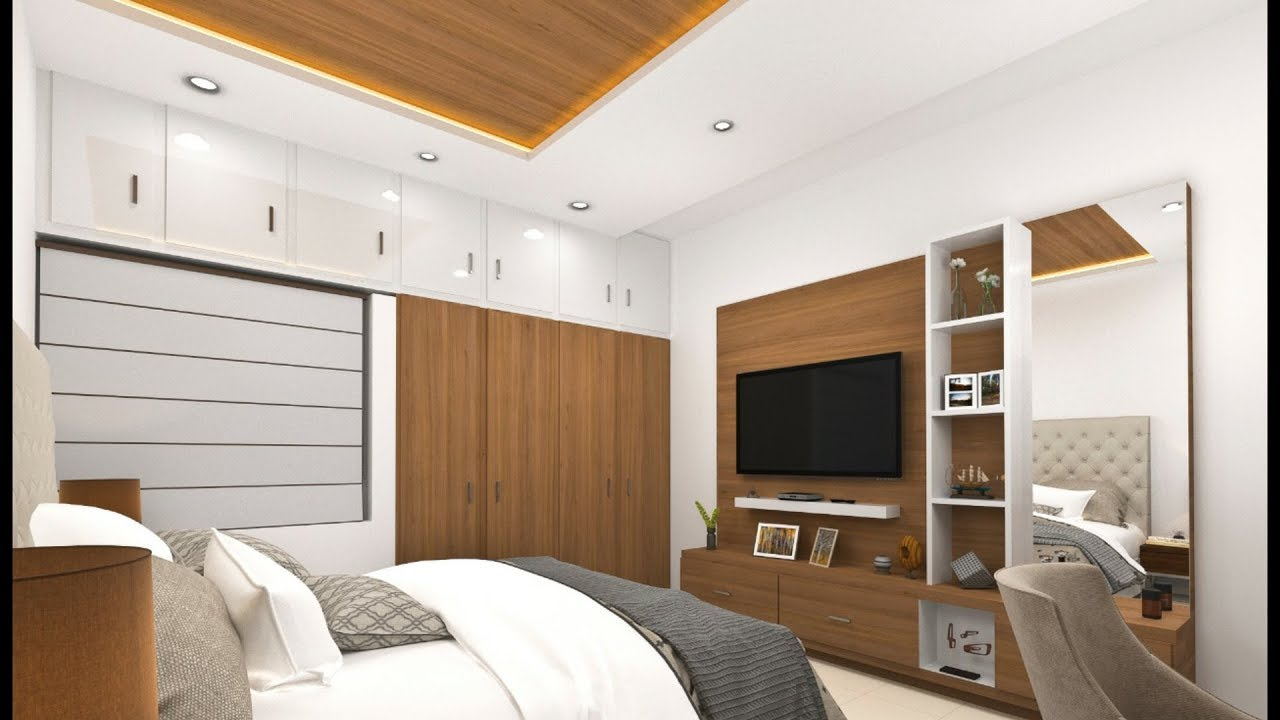 4×4 bedroom design and TV unit/panel design in India ! Modular bedroom  design