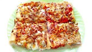 Пицца с колбасой, сыром и помидорами! Вкусно и быстро!
