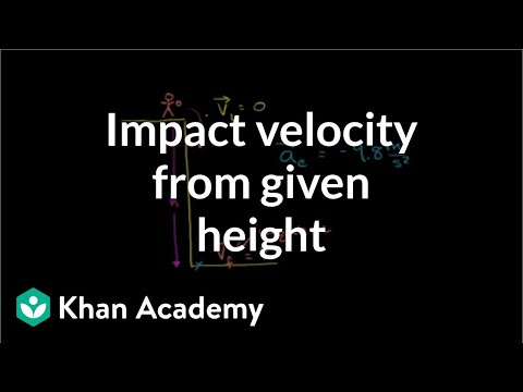Impact velocity from given height   One-dimensional motion   Physics   Khan Academy