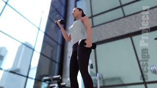 Gym with a variety of exercise equipment and a sportswoman doing sports