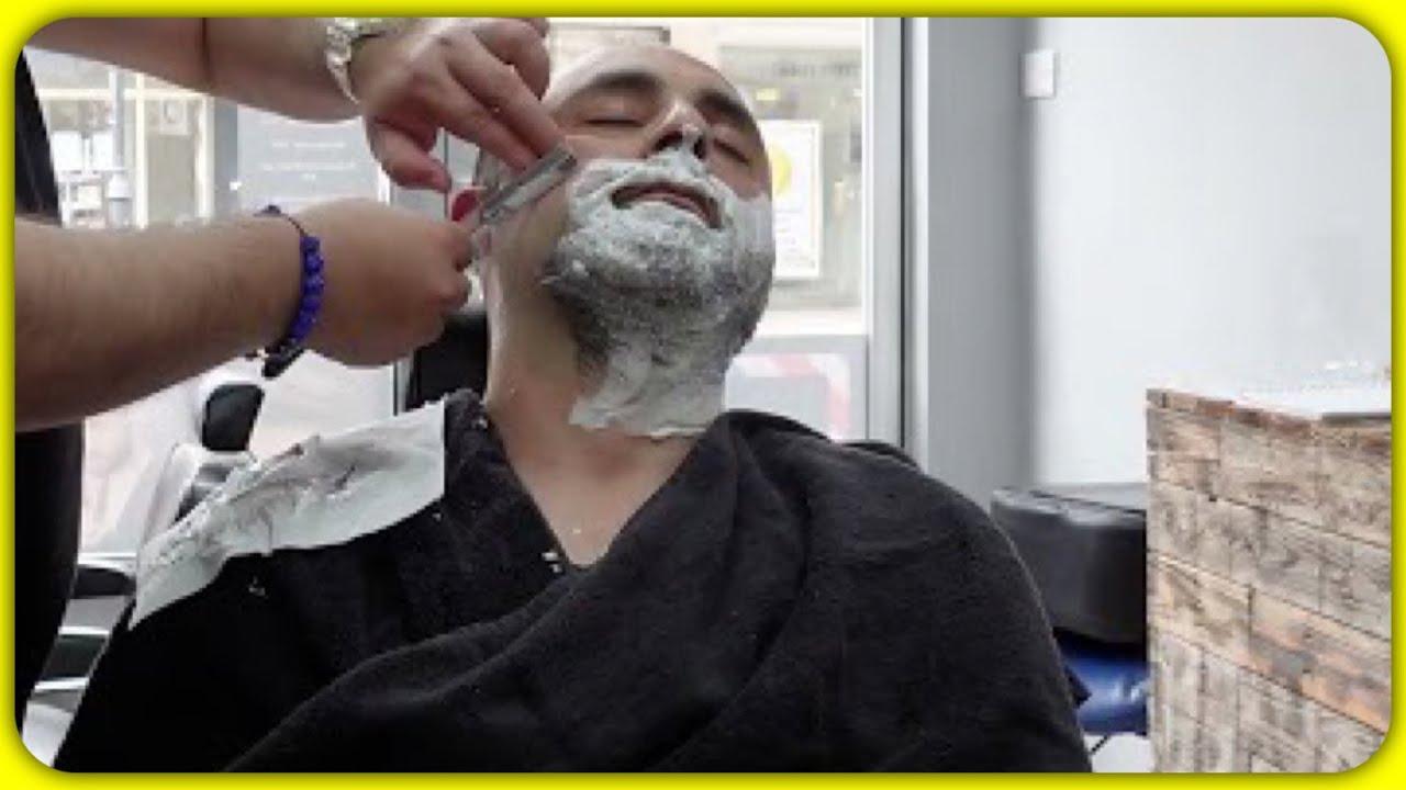 Razor full wet Shave 🪒 and hot towel Massage feel Awesome 💤 ASMR Barber Turko