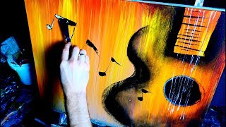 ABSTRACT PAINTING - ACOUSTIC GUITAR, MUSICAL NOTES - BY DRANITSIN