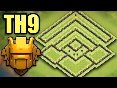 Town Hall 9 (TH9) Best Trophy Saving Base 2017 (50% 1 Star) | Pushing Base + Replays