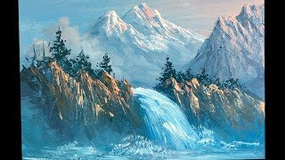 Waterfall Painting   How To Paint Waterfall   Waterfall Painting lesson   Easy waterfall Painting