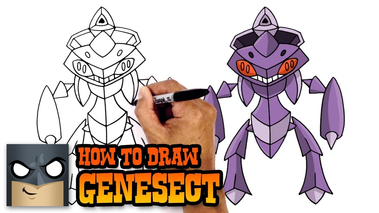 How To Draw Pokemon Genesect Step By Step Youtube