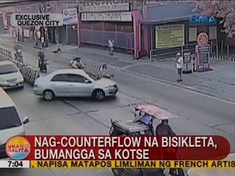 UB: Nag-counterflow na bisikleta, bumangga sa kotse