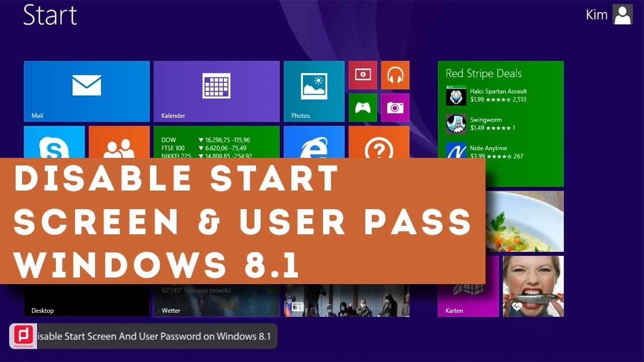 How To Disable Start Screen And User Password On Windows 8