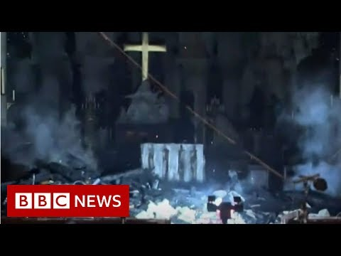 First look inside Notre-Dame after fire - BBC News