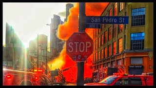 Terrifying EXPLOSION in downtown LOS ANGELES