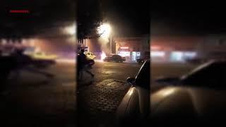 Pamukova İlçe Merkezinde seyir halindeki otomobil bir anda alev aldı
