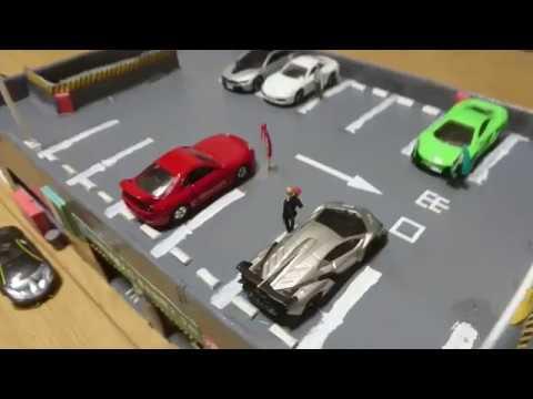 自作トミカタウン 立体駐車場を作りました友人作