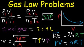 vuclip Gas Law Problems Combined & Ideal - Density, Molar Mass, Mole Fraction, Partial Pressure, Effusion