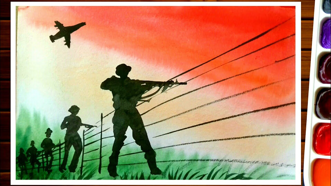 Army Drawing Independence Day Painting Kargil War Youtube