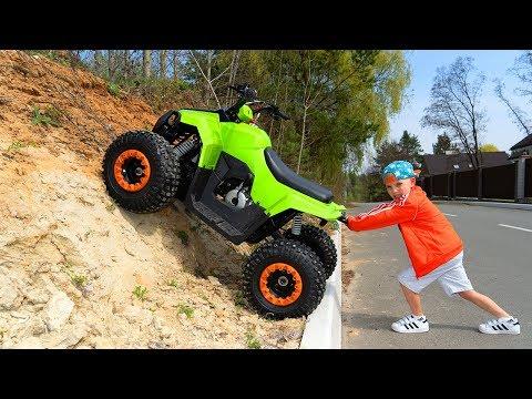 Квадрик - Вездеход.Tisha ride on children's QuadBike and stuck in the ground