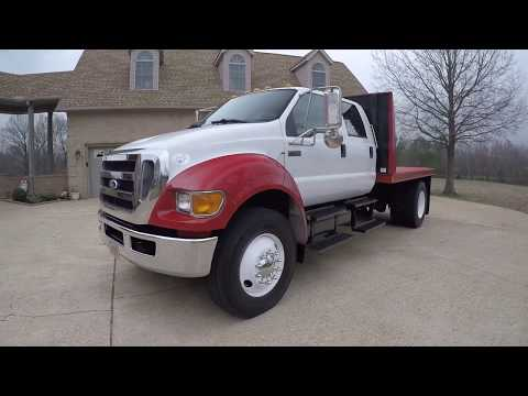 West TN 2010 Ford F750 Crew Cab Cummins Diesel Flat Bed Hawler truck Semi used for sale white red