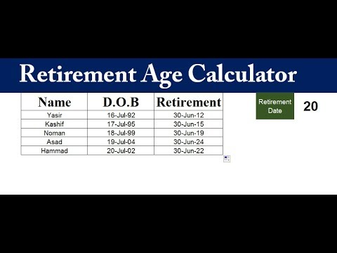 How Calculate Retirement Age In Excel