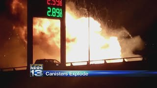 Video: Axe body spray canisters cause explosion on highway