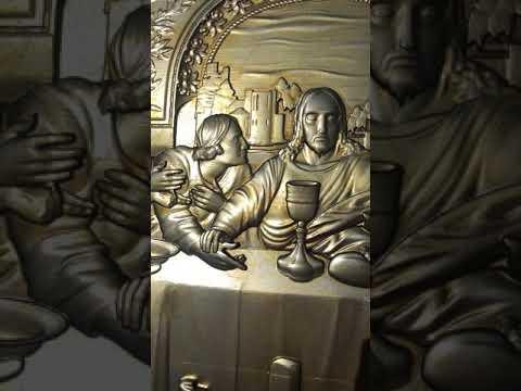 Видеообзор: Стол резной Тайная вечеря из дерева на чпу, покраска золото