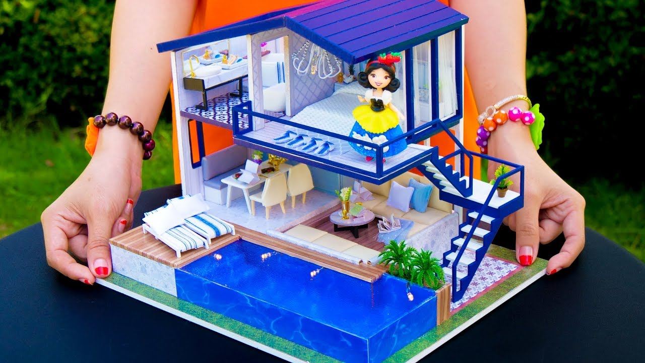 Diy Doll House With Large Pool Youtube