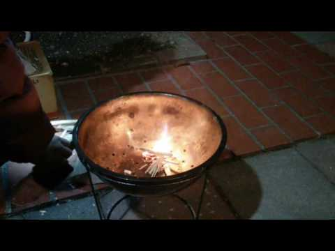 DIY Bonfire Pit made from the Daiso's stainless steel bowl , One mach fire!