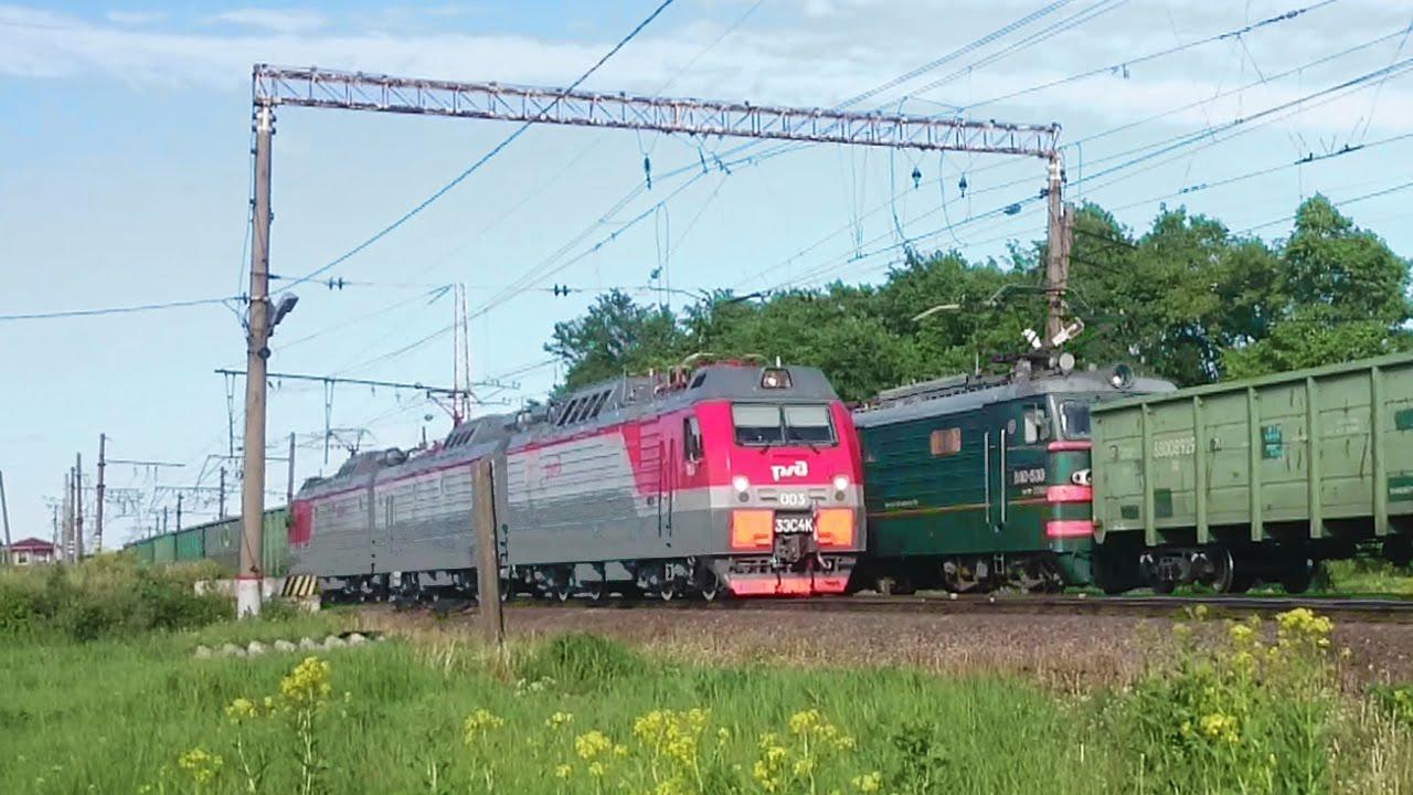 Электровозы 3ЭС4К-003 и ВЛ10-1530 с грузовым поездом
