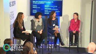 Greta Thunberg, Sharan Burrow and Katherine Garrett-Cox at Friends of Ocean Action in Davos