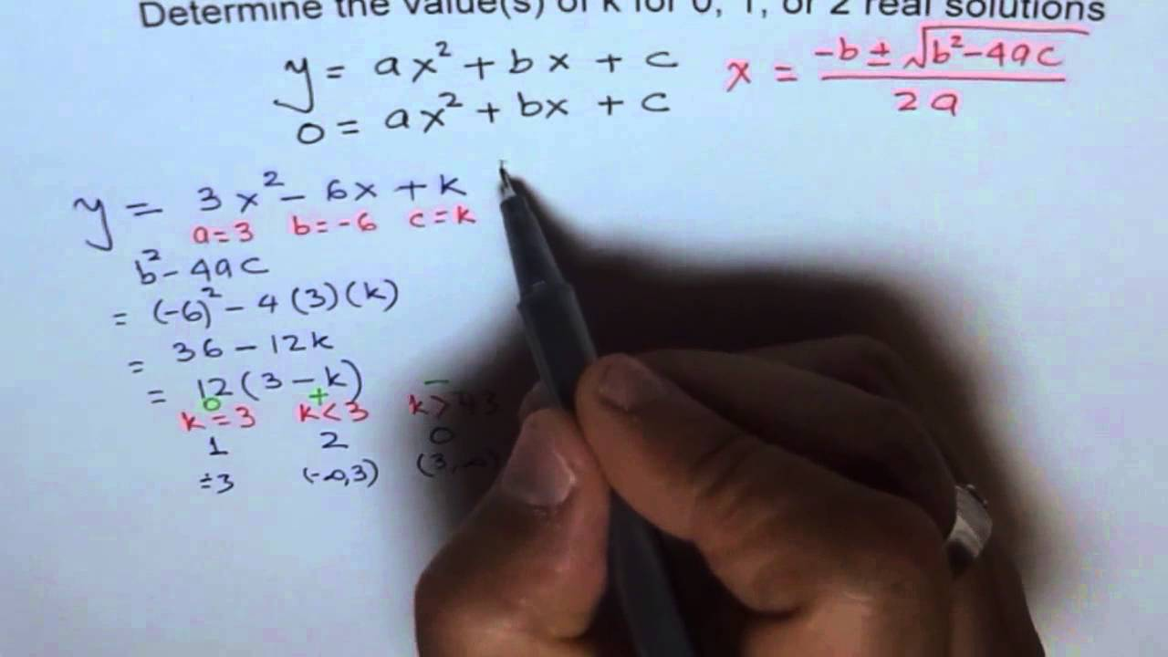 Find Values Of K For Different Number Of Solutions To Quadratic Equation   Youtube