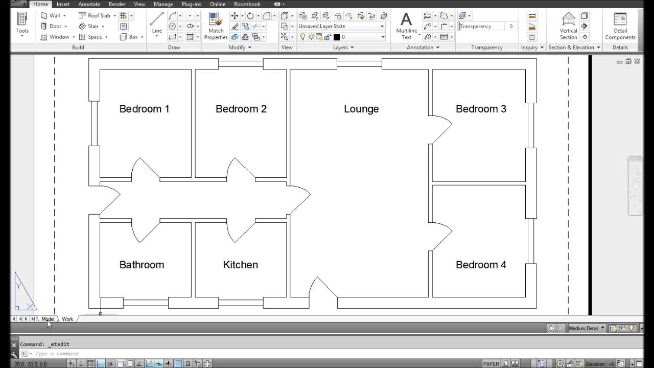 AutoCAD Bungalow Design Timelapse (Floor Plan)