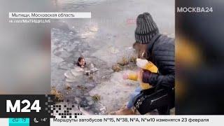 Девушка прыгнула в ледяной пруд, чтобы спасти собаку - Москва 24