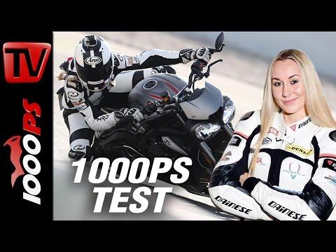 1000PS Test - Triumph Street Triple RS 2017 | Steffi testet die nackte Britin