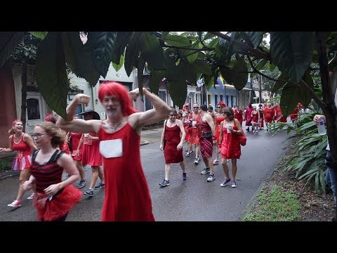 Red Dress run festivities in the French Quarter