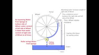 Free Energy Machine Using Capillary, Wheel, Sponge and Roller