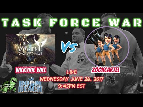 Boom Beach TASK FORCE WAR - VALKYRIE WILL vs ZOOKCARTEL - LIVE + Guest Co Hosts! - Crazy Turtle