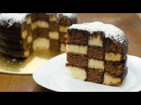 EGGLESS CHESS BOARD CAKE RECIPE l CHECKERBOARD CAKE l WITHOUT OVEN CHESS CAKE