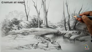 How to draw a easy and simple scenery with pencil | Step by step