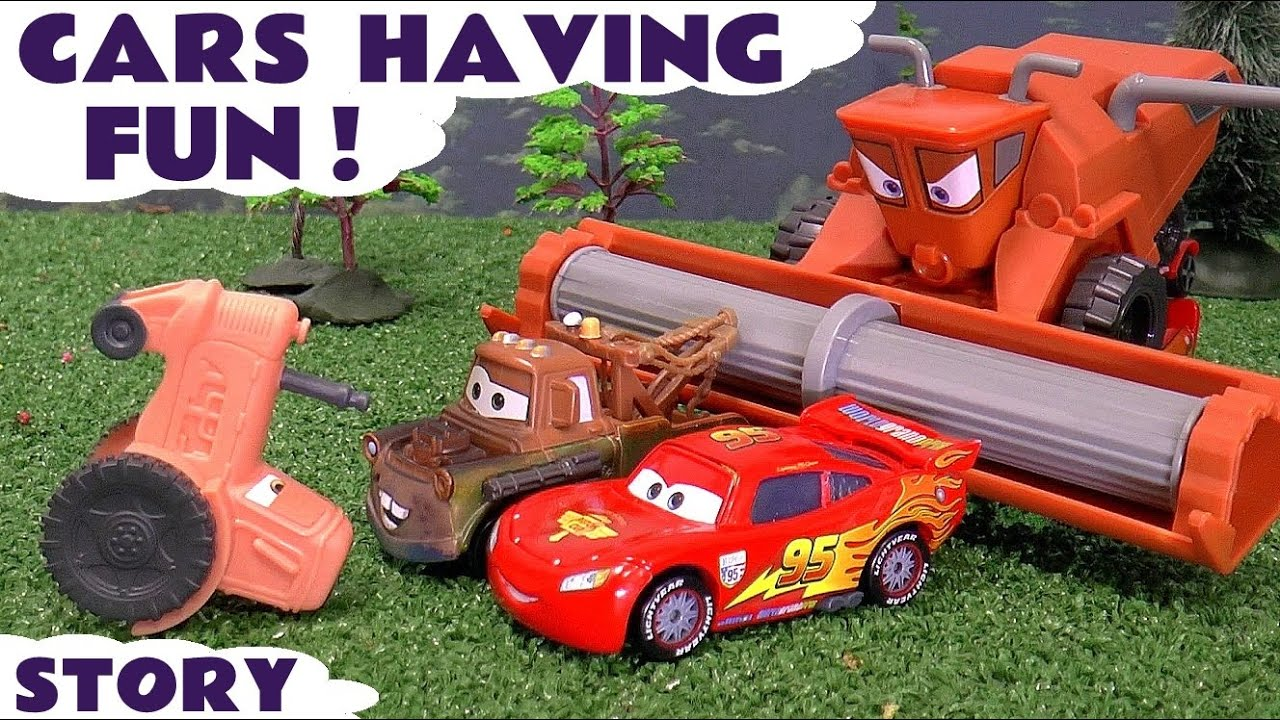 Tractor From Cars : Tractor tipping cars frank tractors mater and lightning