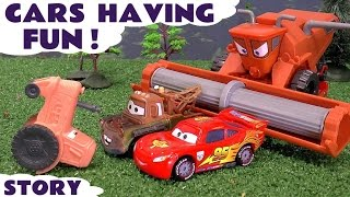 CARS Tractor Tipping Fun and Race vs Avengers Toy Cars Hulk Iron Man Captain America Spiderman Toys