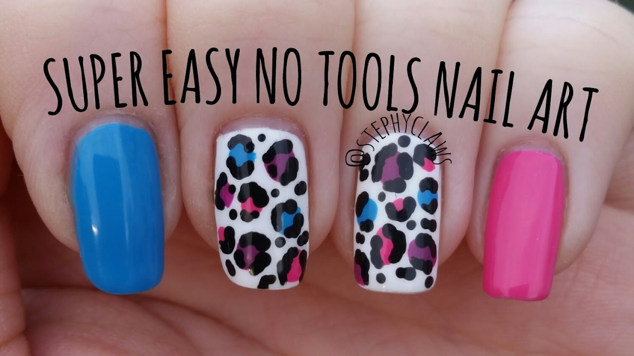Super Easy No Tools Nail Art | Step by Step Bright Leopard Print ...
